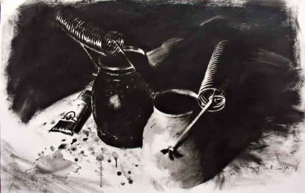 חגית שחל כלי טרפנטין, פחם על נייר